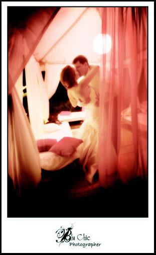 Bride & Groom in a Cabana