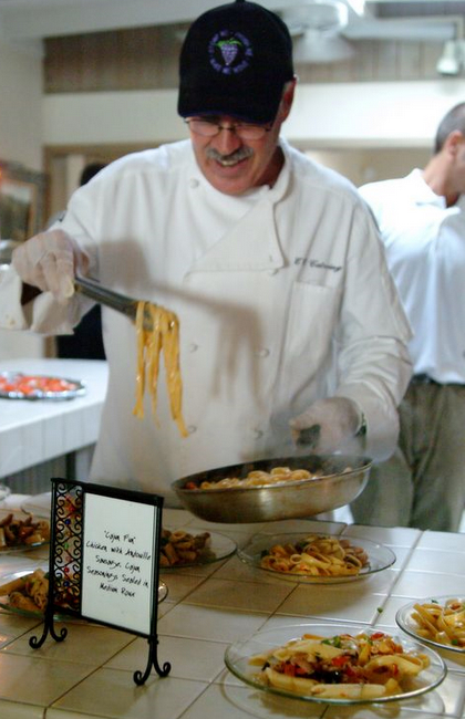 Chef Gary Serafin, plating up